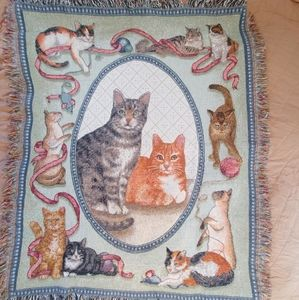 Cats & Kitties Woven Fringe Throw Blanket